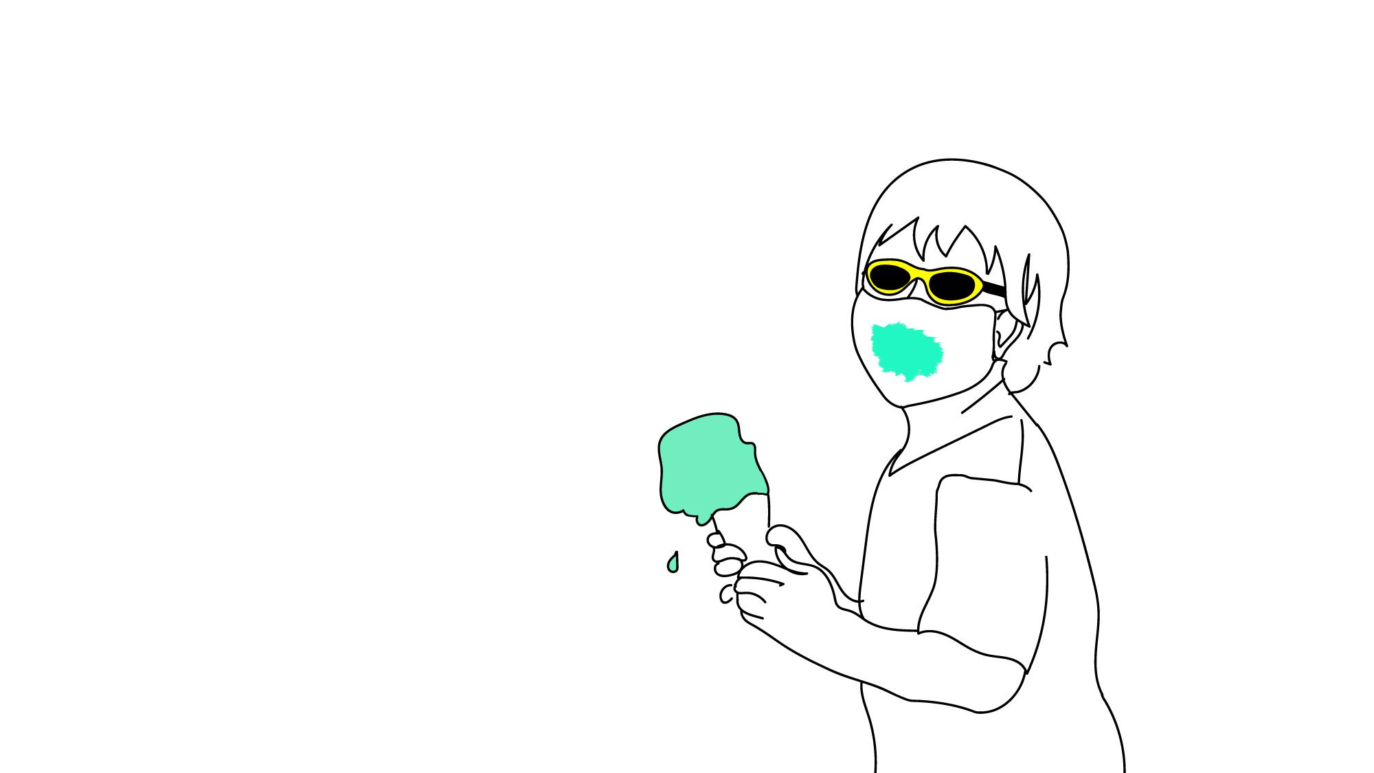 Lízat zmrzku přes roušku